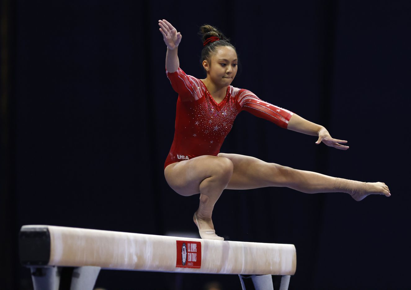 Emma Malabuyo competes on the balance beam during day 2 of the women's 2021 U.S. Olympic Trials at The Dome at America's Center on Saturday, June 27, 2021 in St Louis, Missouri.(Vernon Bryant/The Dallas Morning News)