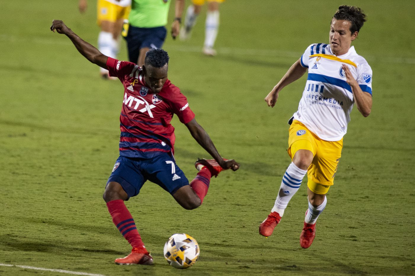FC Dallas forward Jader Obrian (7) prepares to kick the ball during FC DallasÕ home game against the San Jose Earthquakes at Toyota Stadium in Frisco, Texas on Saturday, September 11, 2021. (Emil Lippe/Special Contributor)