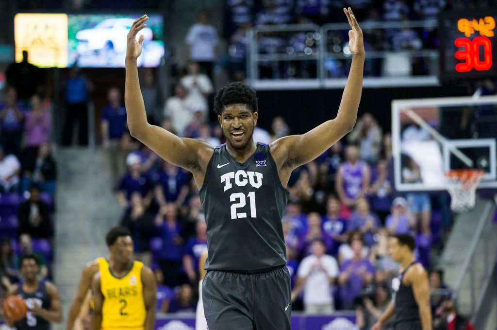 TCU Horned Frogs center Kevin Samuel (21) tries to pump up fans during the second half of an NCAA mens basketball game between Baylor and TCU on Saturday, February 29, 2020 at Ed & Rae Schollmaier Arena on the TCU campus in Fort Worth. (Ashley Landis/The Dallas Morning News)