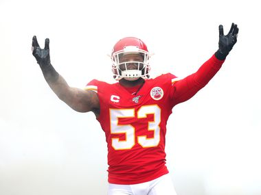 KANSAS CITY, MISSOURI - JANUARY 12:  Anthony Hitchens #53 of the Kansas City Chiefs is introduced prior to the AFC Divisional playoff game against the Houston Texans at Arrowhead Stadium on January 12, 2020 in Kansas City, Missouri.