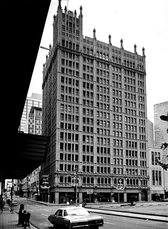 A photograph of the Kirby Building at Main and Akard streets in downtown Dallas, shot Nov. 23, 1973.