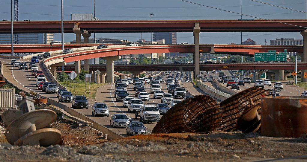 Traffic builds up on northbound U.S.Highway 75 near the Plano Parkway bridge and the Bush Turnpike in Plano.