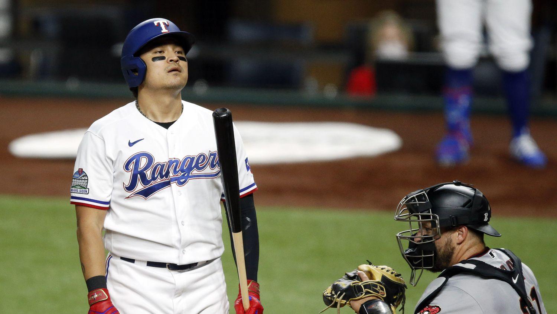 Texas Rangers left fielder Shin-Soo Choo (17) reacts to a called third strike top end the third inning against the Arizona Diamondbacks at Globe Life Field in Arlington, Texas, Tuesday, July 28, 2020.