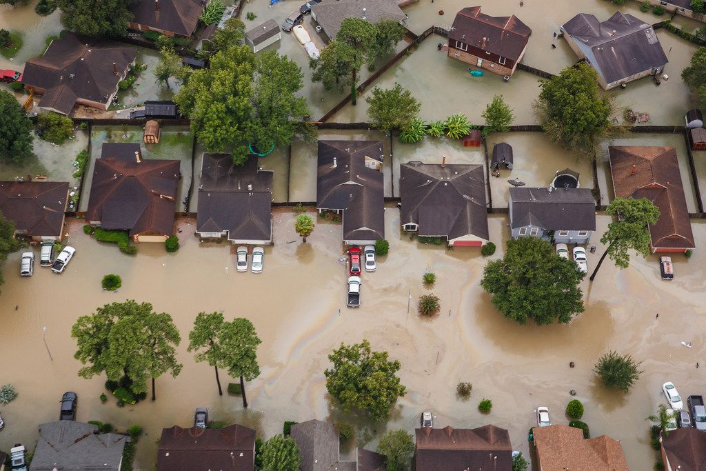 Residential neighborhoods near Interstate 10 in Houston were flooded in the aftermath of Hurricane Harvey last August.