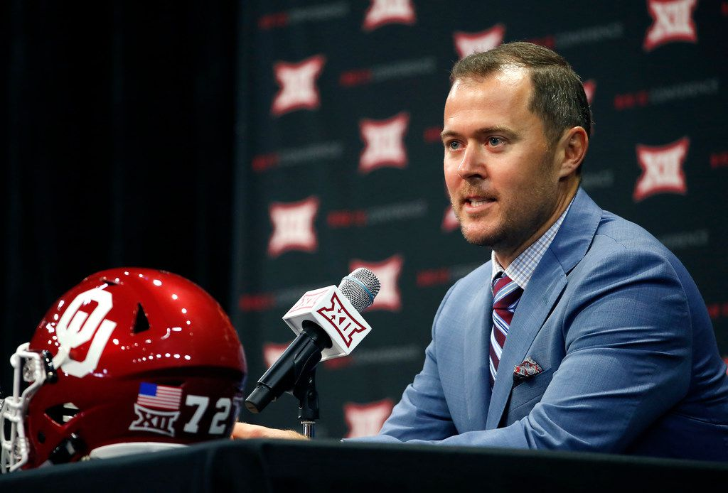 Oklahoma head football coach Lincoln Riley speaks during a press conference in Big 12 Media Day at Ford Center at The Star in Frisco, Texas, Monday, July 16, 2018. (Jae S. Lee/The Dallas Morning News)