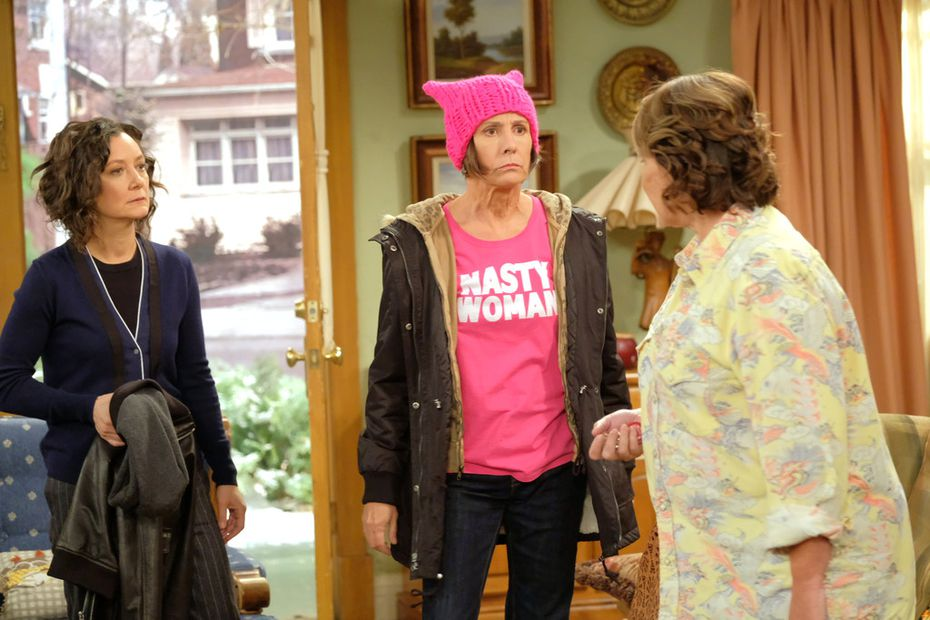 """Politics are front-and-center in Roseanne. Aunt Jackie has no problem pushing Roseanne's buttons, greeting her with: """"What's up, Deplorable?"""" But the show puts the Trump voter as the viewpoint character, and Hollywood-style liberals as The Other."""