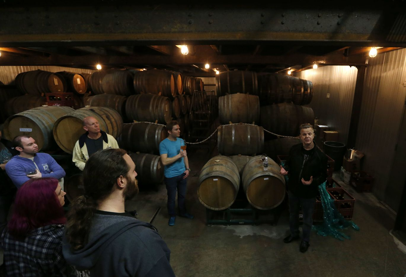 Marc Nelipovich guides a tour at Jester King Brewery in Austin, Texas on Friday, February 23, 2018.