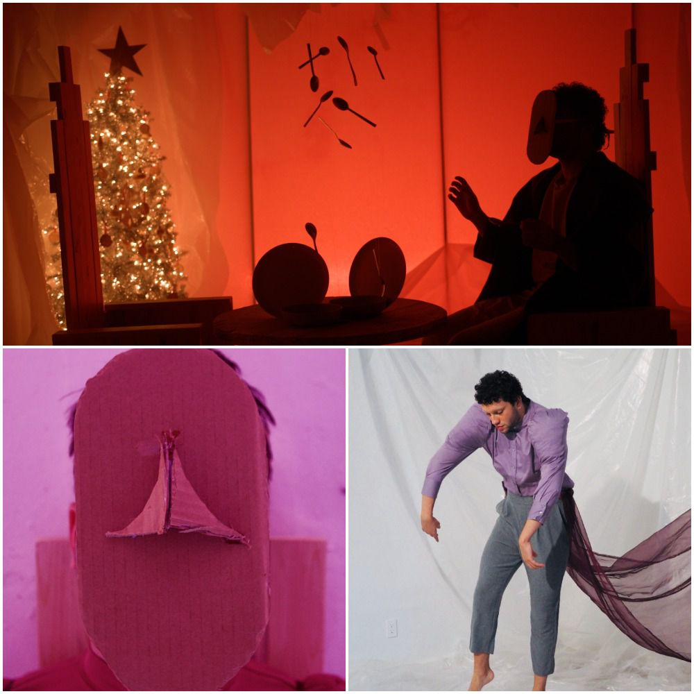 """Top and left: Scenes filmed by Christian Vasquez from the play """"Things Missing/Missed."""" Bottom right: Actor Colby Calhoun."""