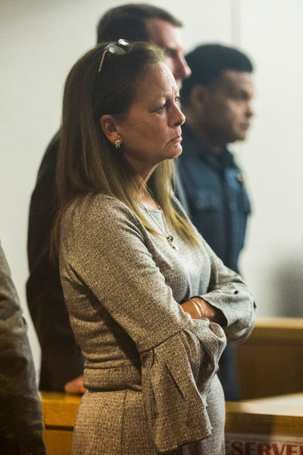 Bonnie Jameson, mother of Kendra Hatcher, watches as Kristopher Love, who is in the punishment phase of a capital murder trial, enters the courtroom after he left on his own in the middle of his sister's testimony on Tuesday, October 30, 2018 at the Frank Crowley Courts Building in Dallas. Love was convicted in the 2015 murder of pediatric dentist Kendra Hatcher. He could face the death penalty. (Ashley Landis/The Dallas Morning News)