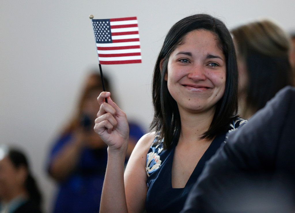 Julieta Chiquillo teared up after taking the Oath of Allegiance for her U.S. citizenship at the U.S. Citizenship and Immigration Services in Irving in 2016.