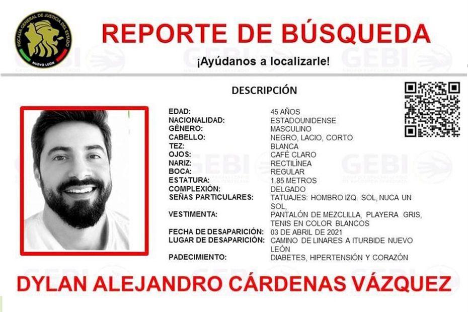 Reporte de búsqueda de las autoridades del supuesto hombre desaparecido en México.