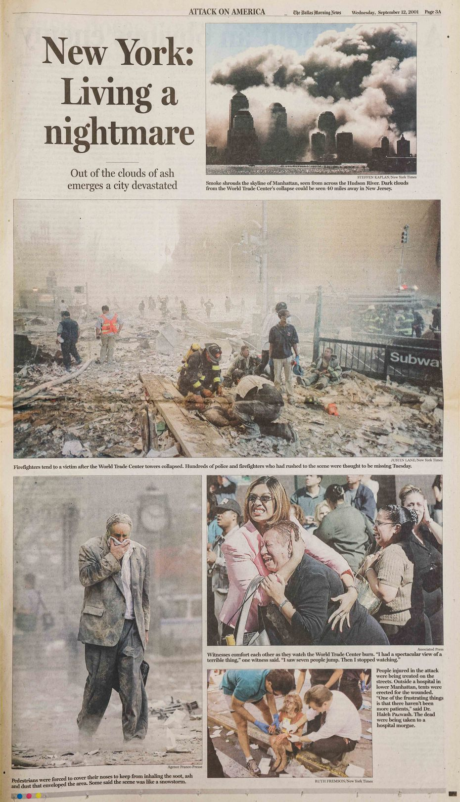 Dallas Morning News 9/11 Special Edition on Wednesday, September 12, 2001.