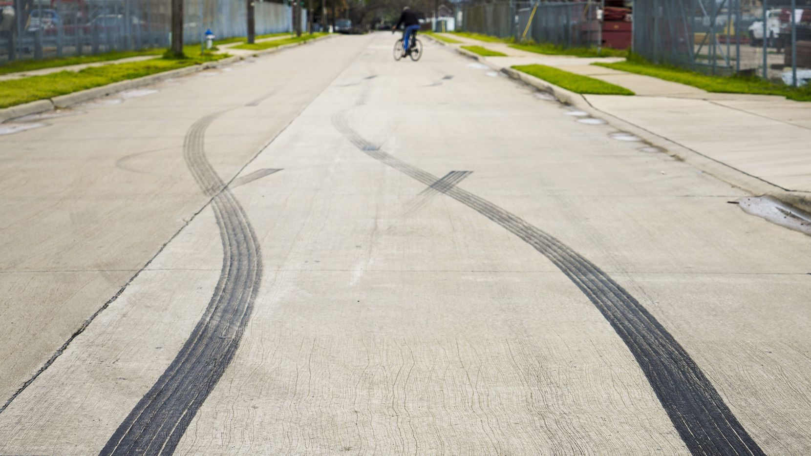 Skid marks are seen in the 1400 S. Henderson Avenue on Monday, March 9, 2020, in Dallas. DPD officers assigned to a racing initiative observed a large crowd of people and vehicles at the location where several vehicles doing donuts in the parking lot and when the officers drove onto the parking lot everyone began to scatter.