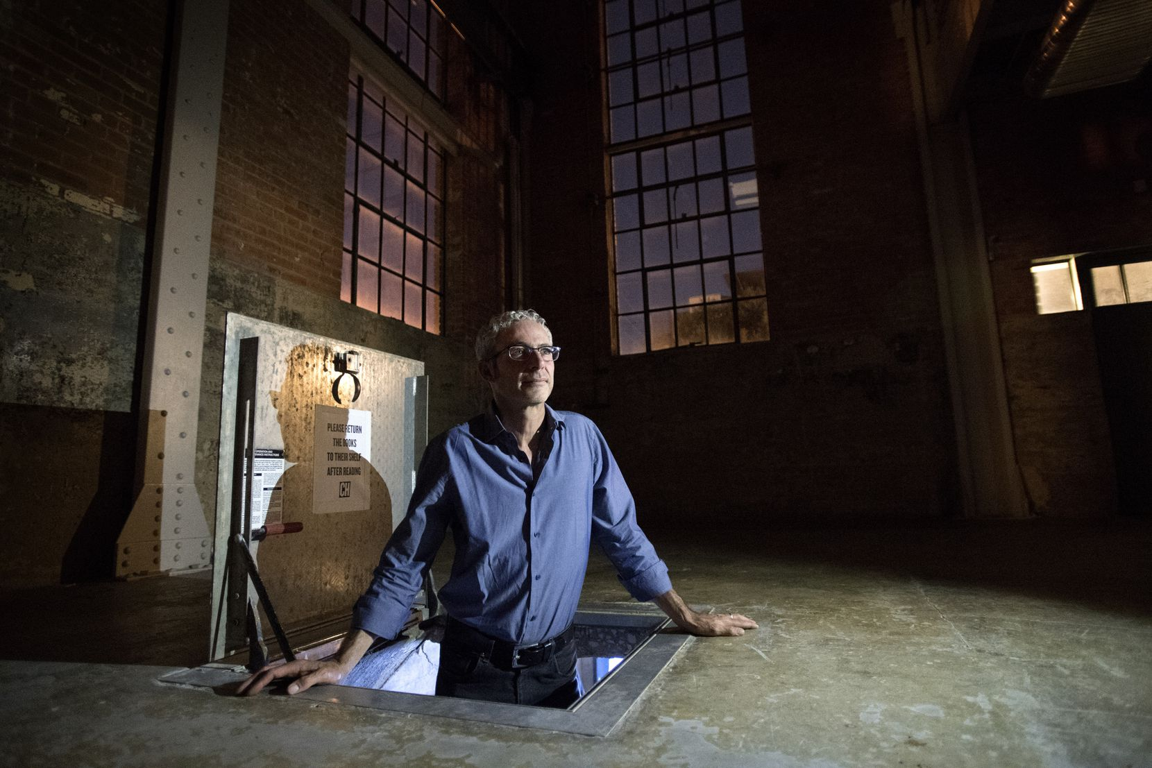 Mexico-based artist Carlos Ranc pops into Culture Hole, a 44-square-foot underground art exhibition space in Deep Ellum.