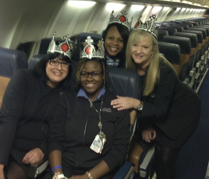 Darlene Sain, far right, is a Southwest Airlines flight attendant who has been flying through the COVID-19 pandemic.