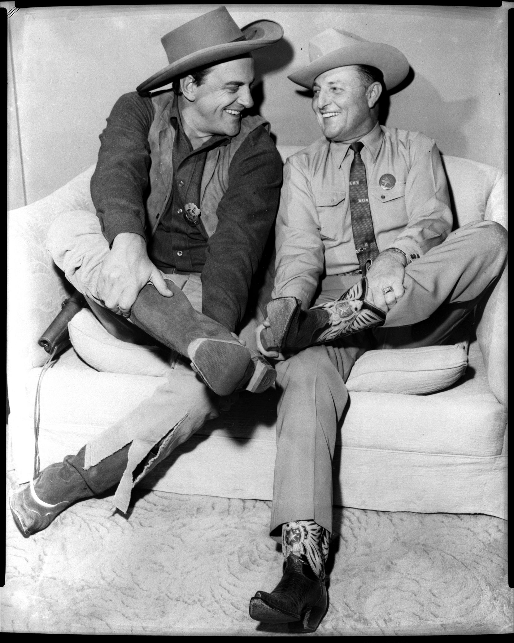 "Texas Rangers Capt. Clint Peoples loved meeting Hollywood stars. Here he chats up James Arness of the TV show ""Gunsmoke."""