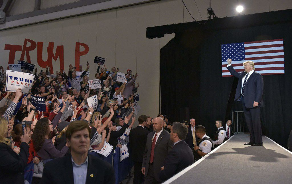 Republican presidential nominee Donald Trump arrives for the final rally of his 2016 presidential campaign at Devos Place in Grand Rapids, Michigan on November 7, 2016. / AFP PHOTO / MANDEL NGANMANDEL NGAN/AFP/Getty Images