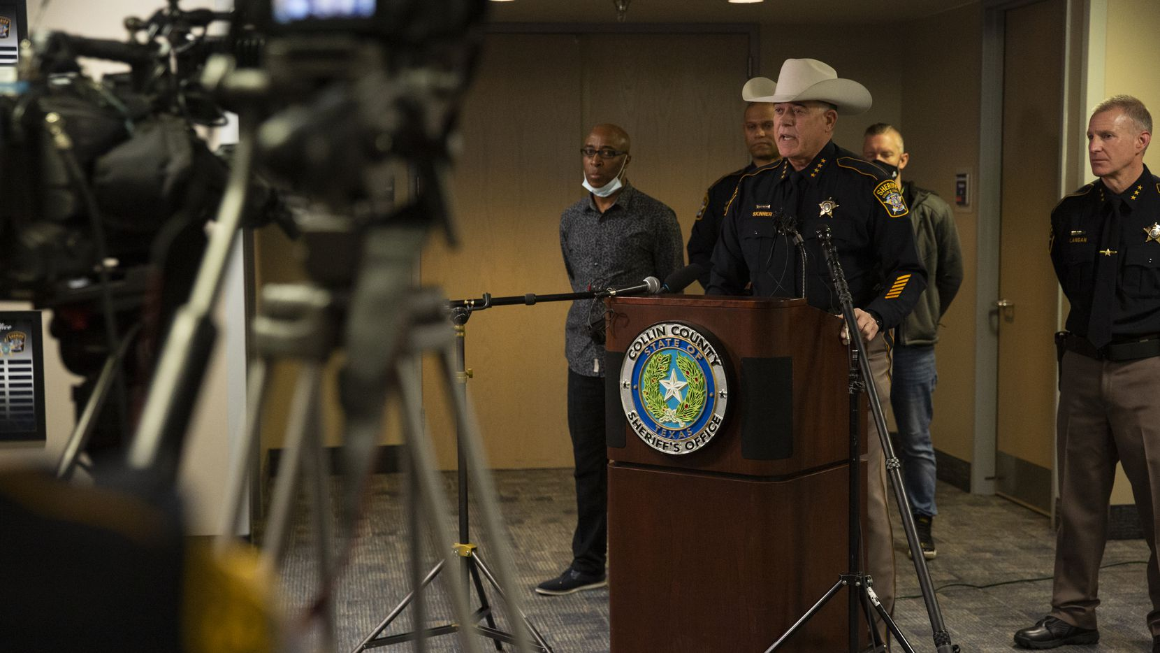 Collin County Sheriff Jim Skinner spoke at a news conference March 19 about the death of Marvin Scott III while in custody at the Collin County jail. Skinner announced Thursday that seven detention officers had been fired and an eighth resigned as the result of an internal investigation.