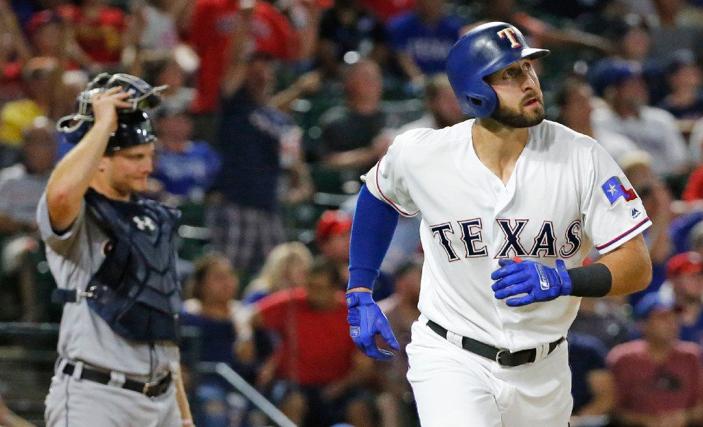 FILE - Rangers third baseman Joey Gallo (13) watches his fourth-inning homer during a game between the Detroit Tigers and Rangers at Globe Life Park in Arlington on Tuesday, Aug. 15, 2017. (Louis DeLuca/The Dallas Morning News)