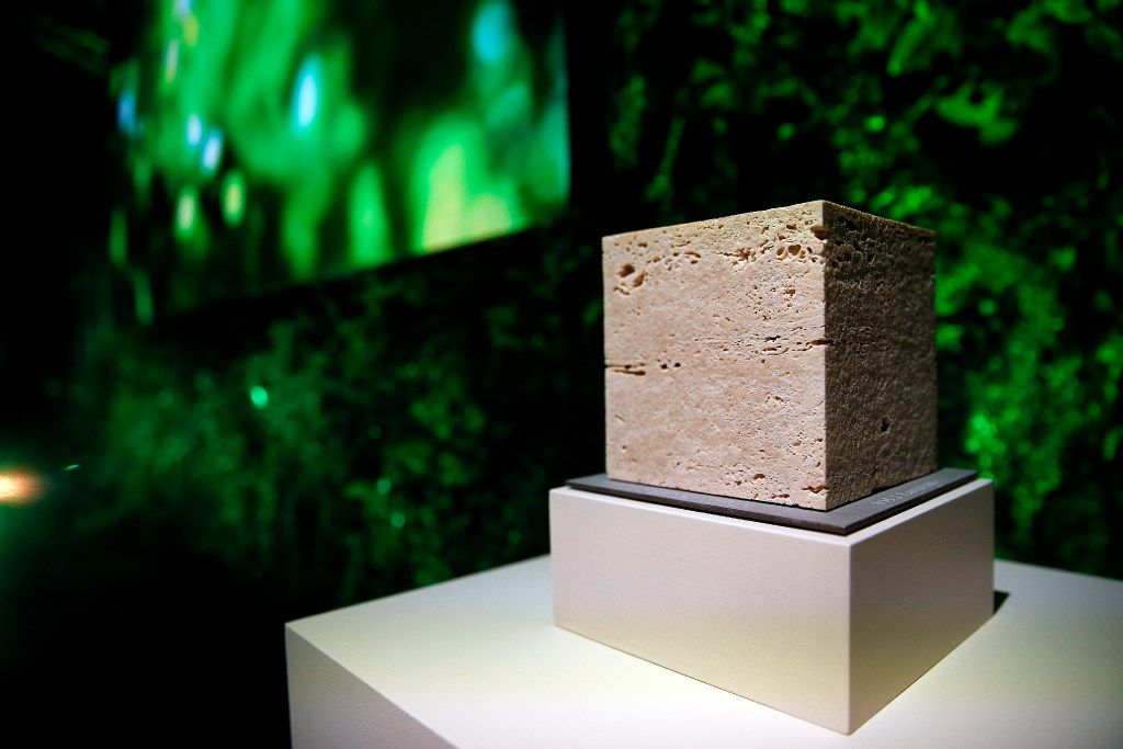 Nancy Nasher presented French artist Pierre Huyghe with the Nasher Prize (pictured here), the second recipient of the award, during a gala at the Nasher Sculpture Center in Dallas, Saturday, April 1, 2017. (Tom Fox/The Dallas Morning News)