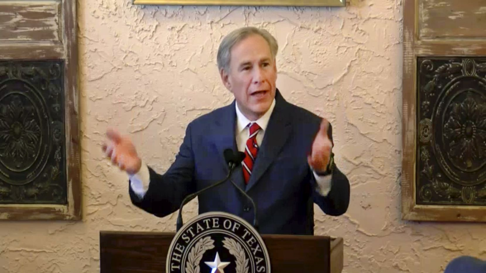 Texas Gov. Greg Abbott delivers a speech at a Lubbock restaurant March 2, 2021. Coming up on the one-year anniversary of the COVID-19 pandemic, Abbott announced reopening the state to all businesses. (video via KXAS-TV Dallas)