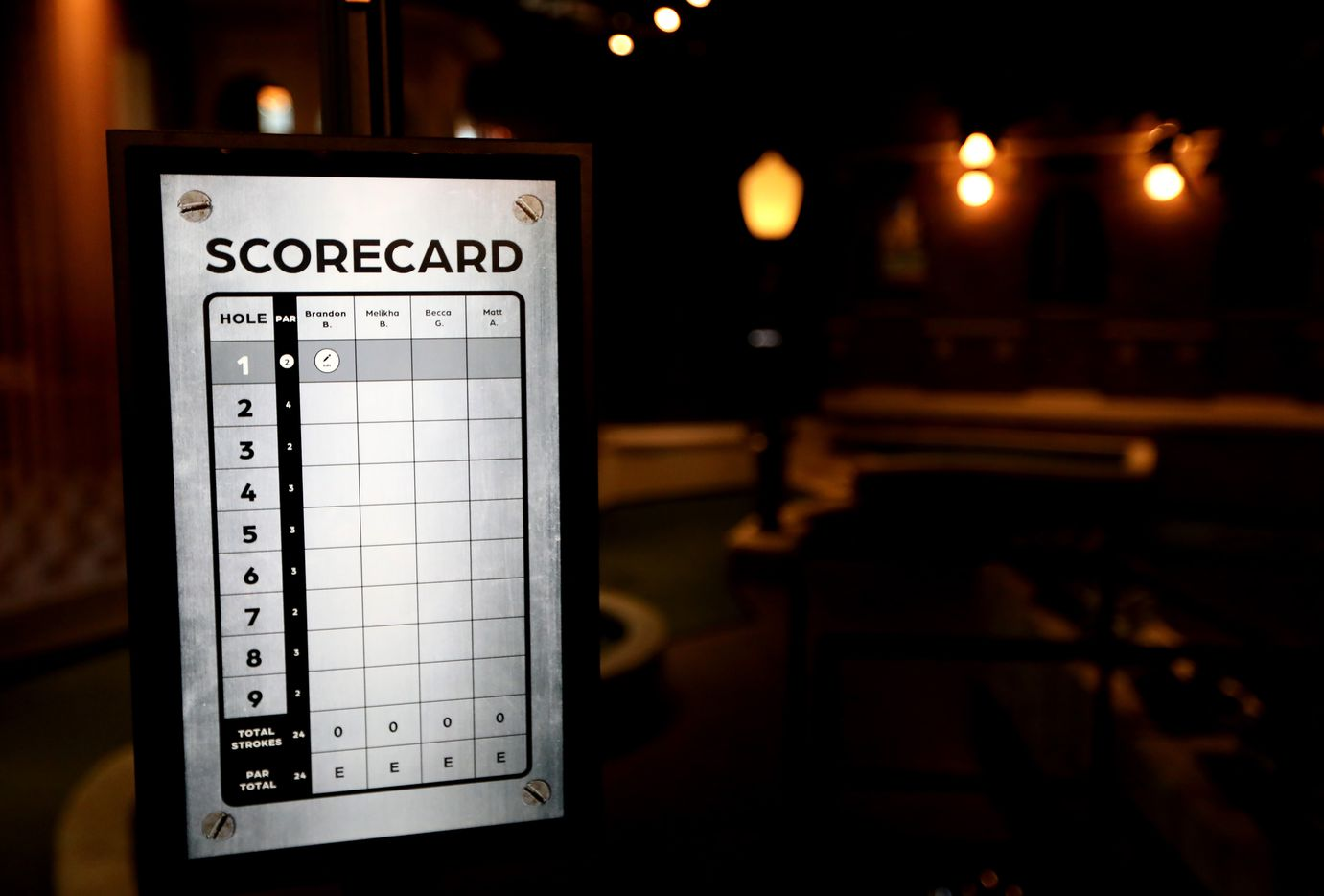 A touchscreen scorecard at Puttery, a new indoor mini golf and entertainment concept in The Colony, Texas, Monday, August 30, 2021.
