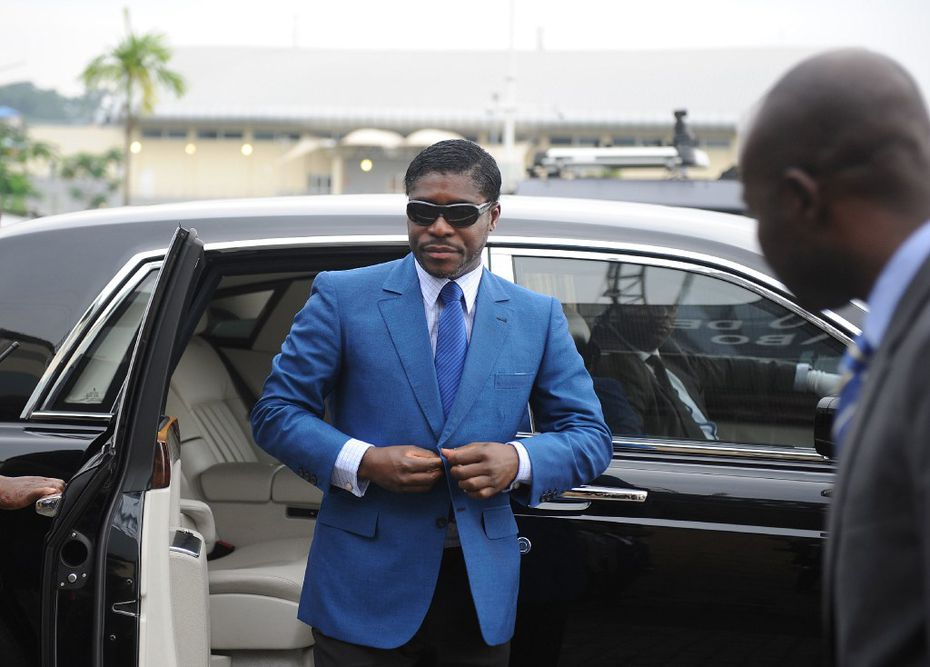 This file photo taken on June 24, 2013 shows  Teodoro (aka Teodorin) Nguema Obiang Mongue, the son of Equatorial Guinea's president, arriving at Malabo stadium for ceremonies to celebrate his 41st birthday. AFP PHOTO / JEROME LEROY/AFP/Getty Images