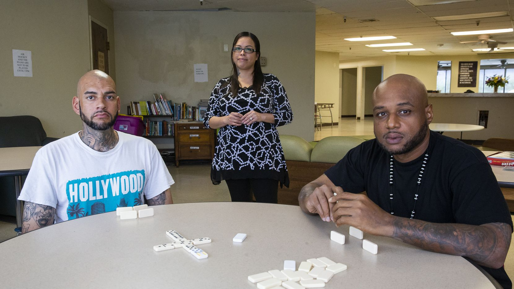 Samantha Anderson, a peer recovery specialist at Homeward Bound, with program members Rolando A. (left) and Donald C. at the nonprofit's treatment center. Rolando and Donald are among those who have found help in the residential treatment program.