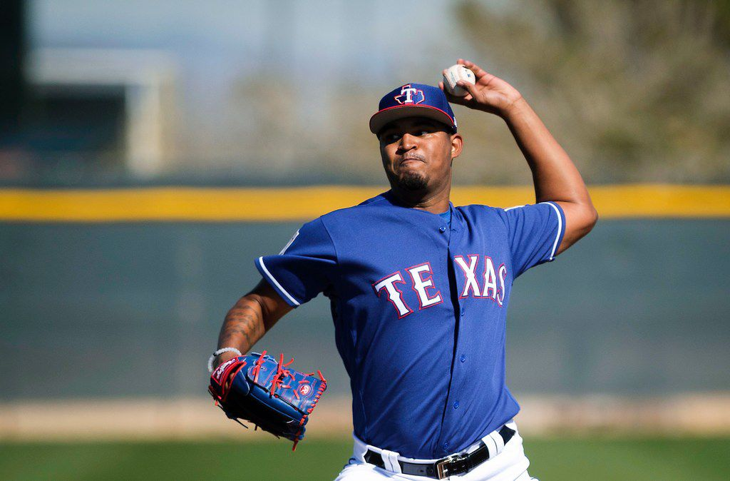 Texas Rangers pitcher Yohander Mendez throws live batting practice during a spring training workout at the team's training facility on Wednesday, Feb. 20, 2019, in Surprise, Ariz.. (Smiley N. Pool/The Dallas Morning News)