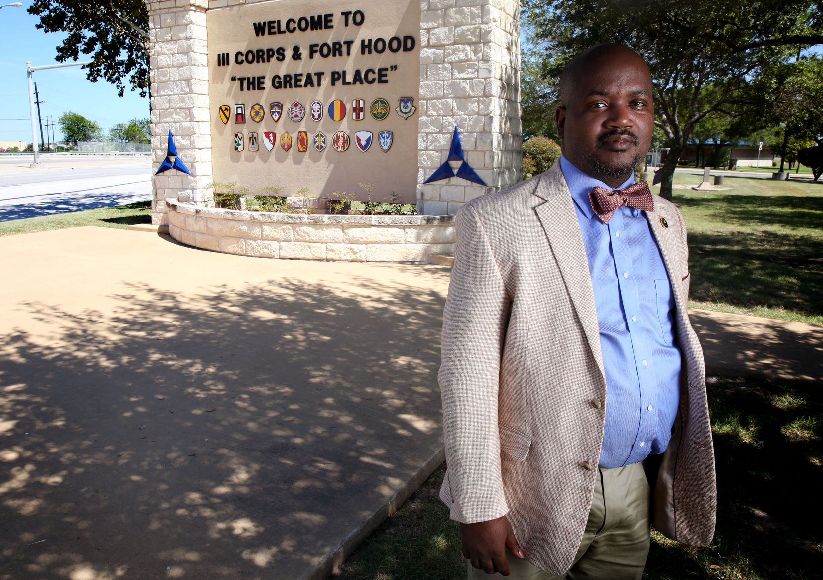 Riakos Adams, secretary of the Killeen chapter of the NAACP, poses outside Fort Hood on Aug. 22, 2017. The post is named for Confederate Gen. John Bell Hood, and the NAACP and others want it renamed.