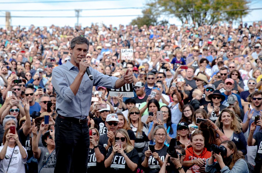 Beto O'Rourke spoke at the Pan American Neighborhood Park in Austin on Nov. 4 during his U.S. Senate campaign. O'Rourke didn't turn Texas blue, losing to incumbent Ted Cruz, but for the first time in decades, it's looking much less red.