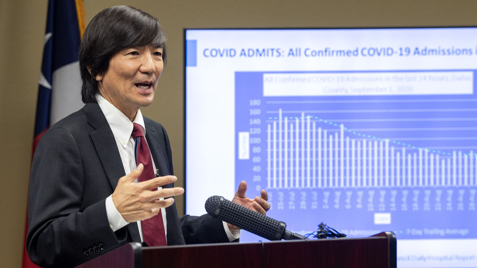 Dr. Philip Huang, Dallas County Health and Human Services director, discusses the decline in COVID-19 related hospital admissions during a news conference Wednesday, September 2, 2020 at the Dallas County Emergency Operations Center in Dallas. (Jeffrey McWhorter/Special Contributor)