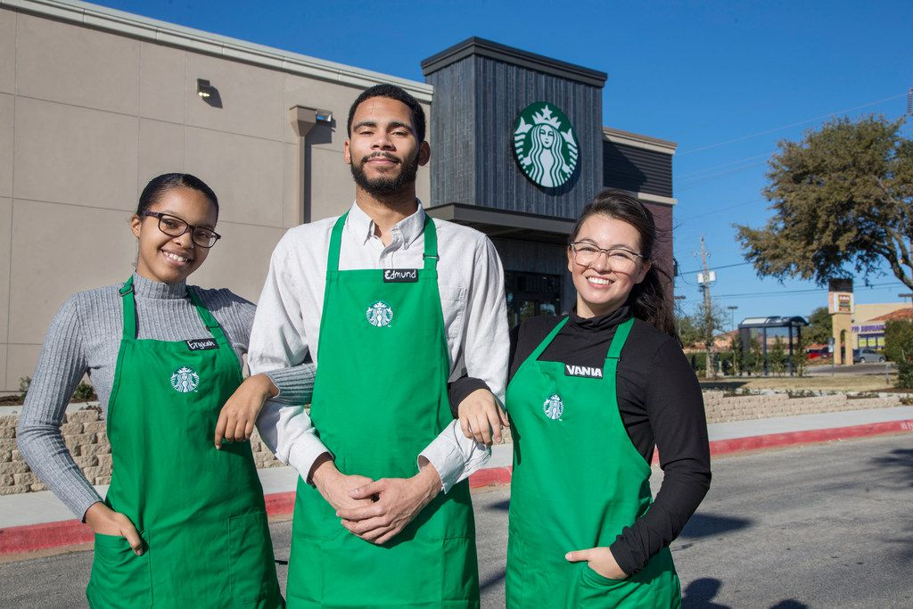 From left: Employees Erykah London, Edmund Young and Vania Perez outside Starbucks in Dallas.