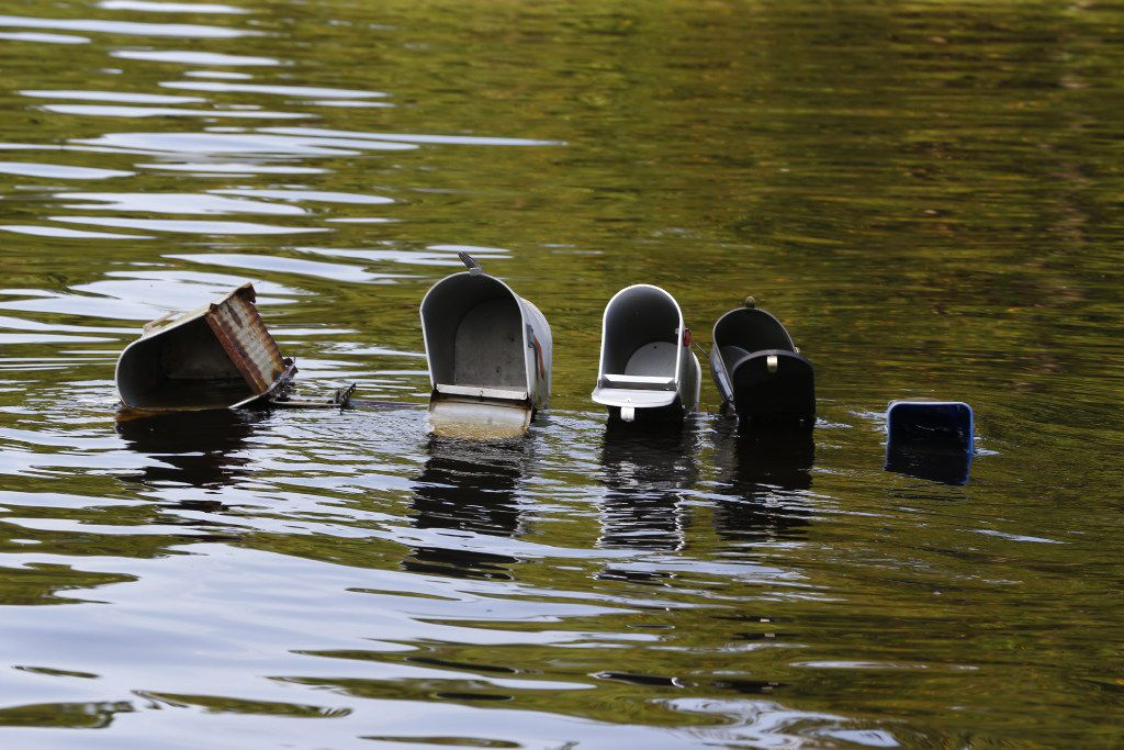 Mailboxes underwater after Hurricane Harvey in Vidor, Texas, on Sept. 3, 2017.