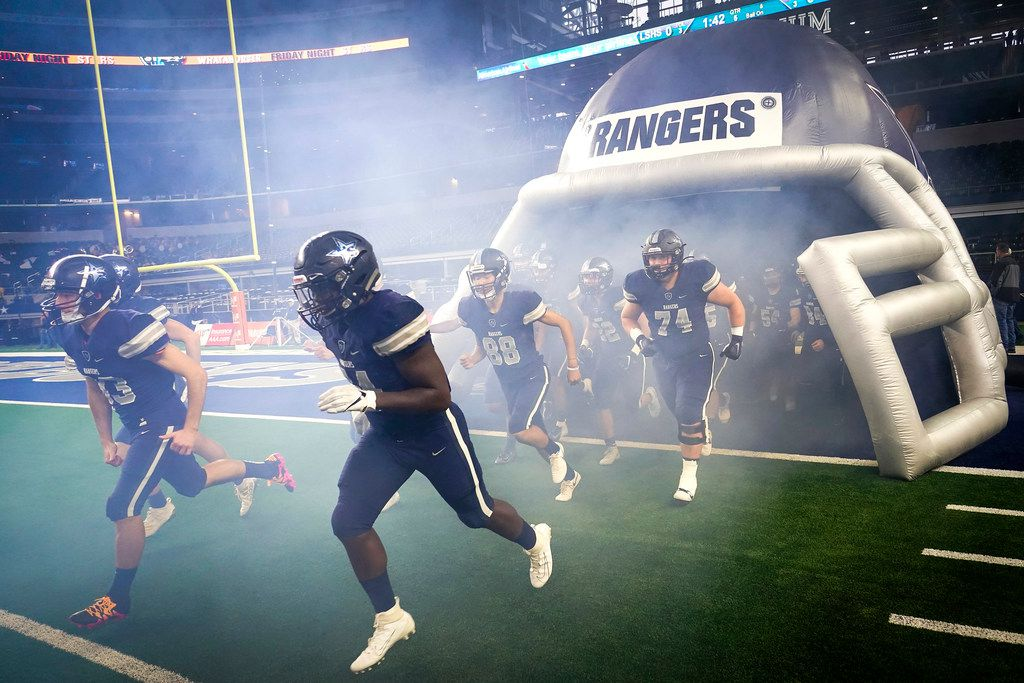 Frisco Lone Star players take the field to face Highland Park in a Class 5A Division I Region II semifinal playoff football game at AT&T Stadium non Friday, Nov. 29, 2019, in Arlington. (Smiley N. Pool/The Dallas Morning News)