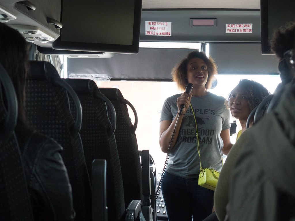 Founders Dalila Thomas (Left) and Deah Mitchell (right) of the Soul of Dallas Bus tour give history and information about African American areas of Dallas.