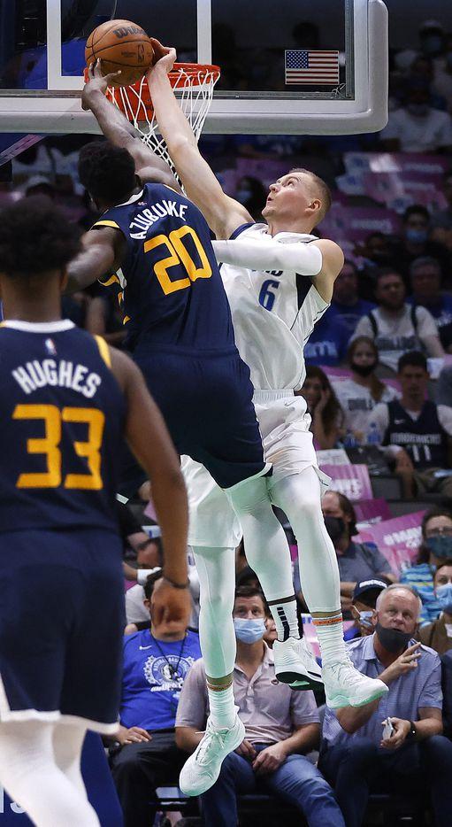 Dallas Mavericks center Kristaps Porzingis (6) blocks Utah Jazz center Udoka Azubuike's (20) first half shot at the American Airlines Center in Dallas, Wednesday, October 6, 2021.(Tom Fox/The Dallas Morning News)
