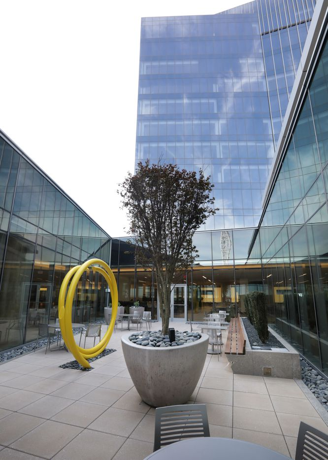 One of two courtyards that help add plants and light to the new Liberty Mutual Insurance complex in Plano.
