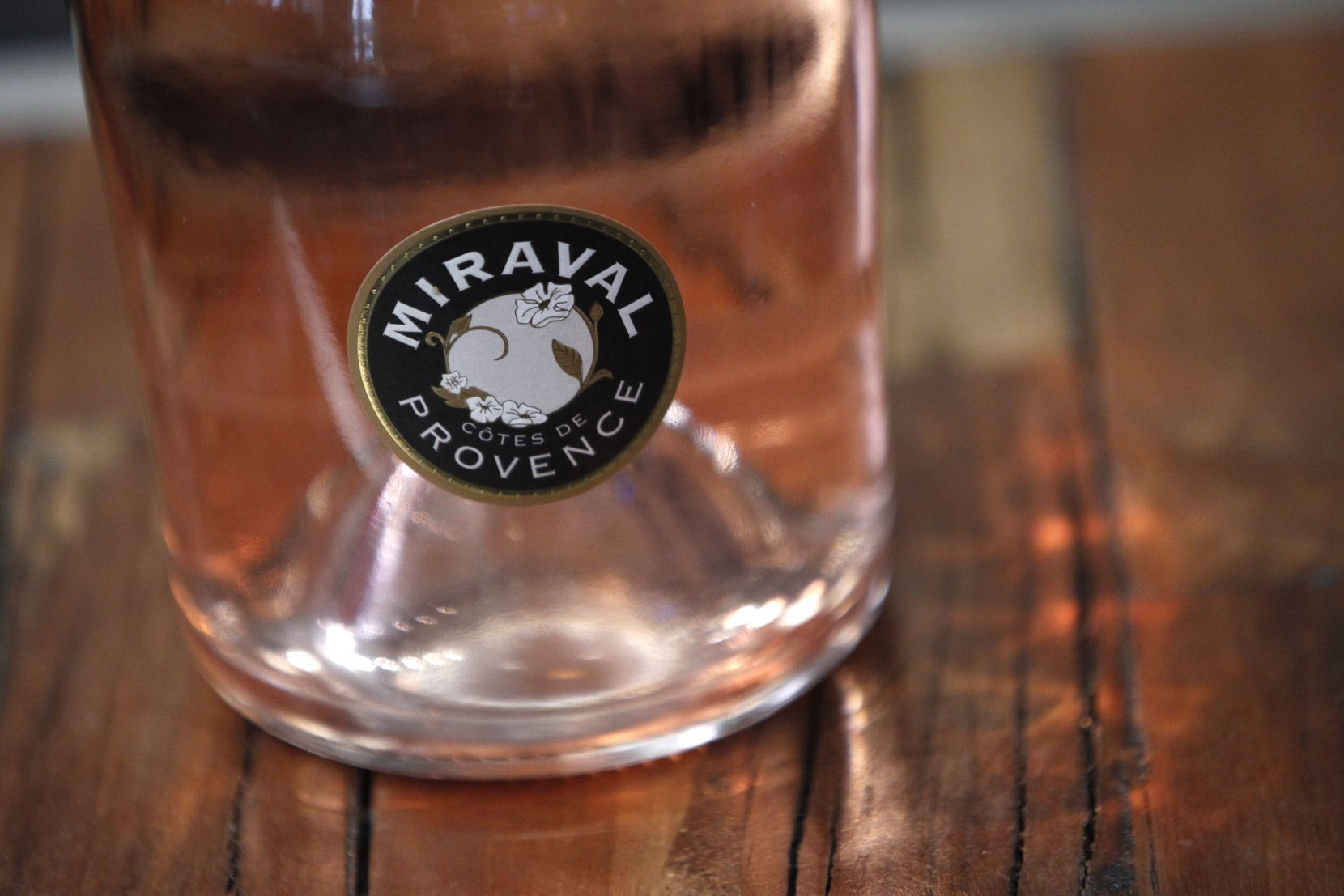 A bottle of Miraval 2013 rose wine