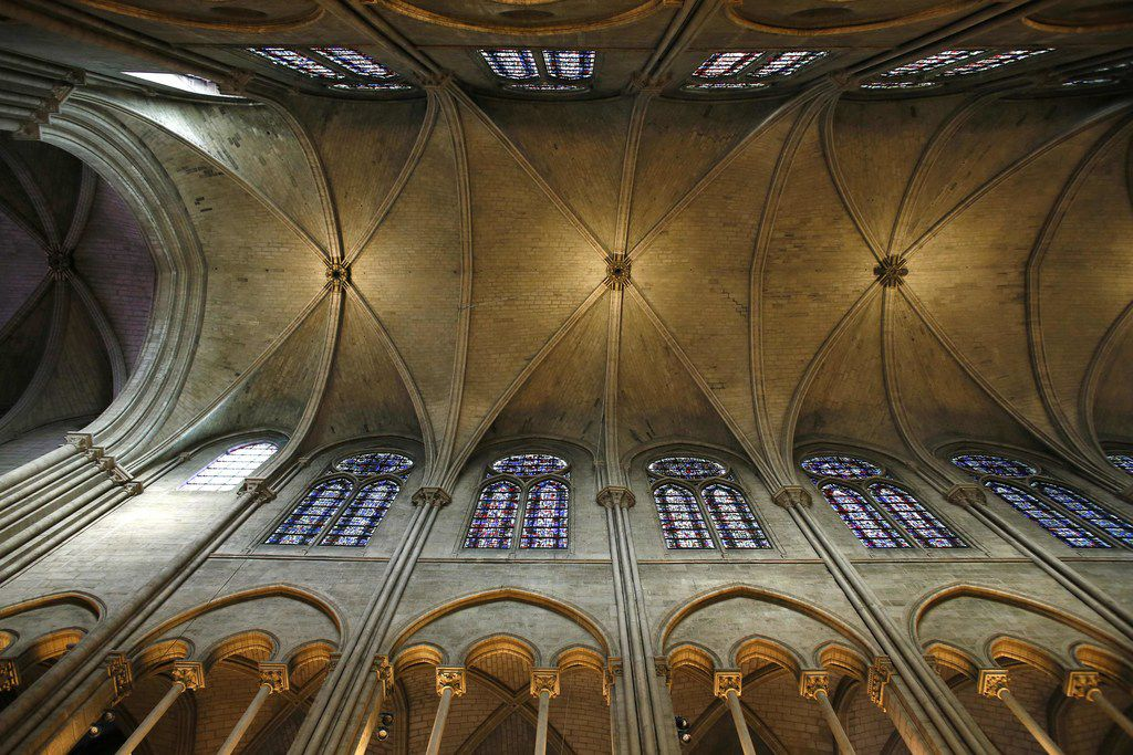 This file photo taken on Nov. 29, 2012 shows a view of the stone-vaulted ceiling inside Notre Dame cathedral in Paris.