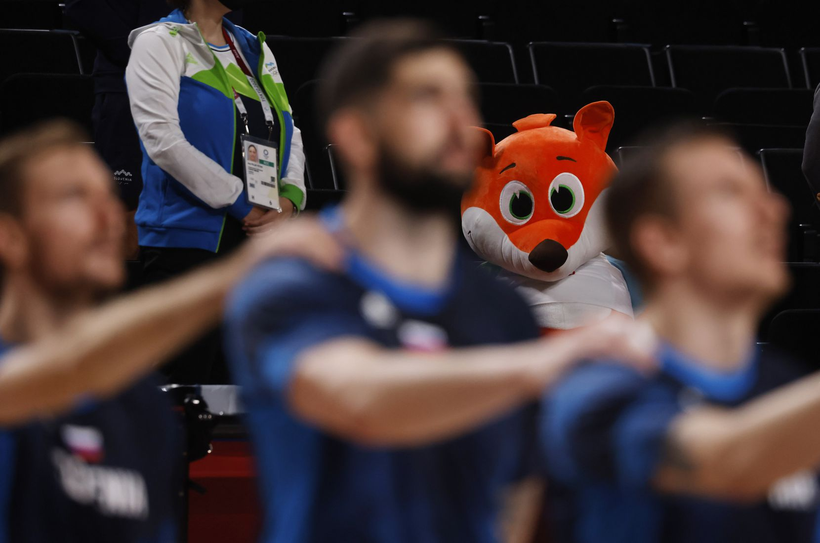 A stuffed animal sits at watch as the national anthem for Slovenia plays before a game against Australia for the bronze medal basketball game at the postponed 2020 Tokyo Olympics at Saitama Super Arena, on Saturday, August 7, 2021, in Saitama, Japan. (Vernon Bryant/The Dallas Morning News)