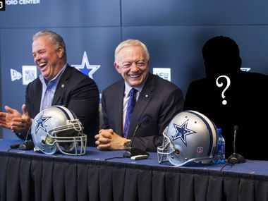A Dallas Cowboys draft pick is introduced in a press conference with Cowboys Executive Vice President and CEO Stephen Jones and owner Jerry Jones at The Star in Frisco, Texas.