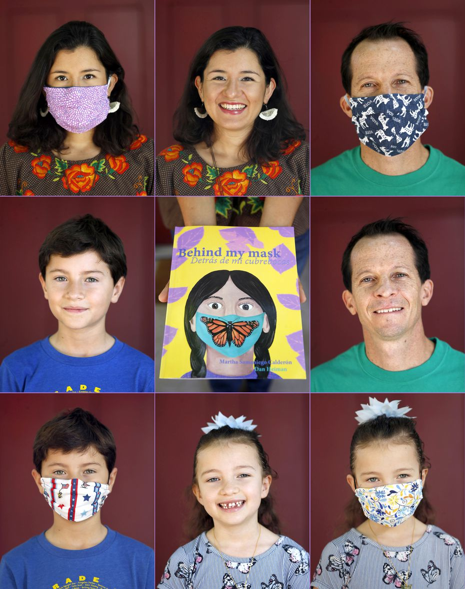 """Martha Samaniego Calderón, her husband, Dan Heiman, and their children, Natalia and Nicolás, know that fears about wearing a mask can extend beyond the coronavirus. """"English is not my first language, and I rely a lot on facial expressions,"""" Samaniego Calderón says. The couple wrote a children's book called """"Behind My Mask (Detrás de mi Cubrebocas)"""" to help kids work through their feelings and fears in these frightening times."""