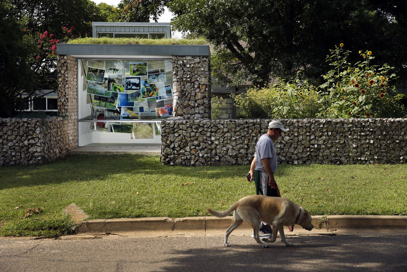 A man walks his dog past the Blind Alley art gallery.