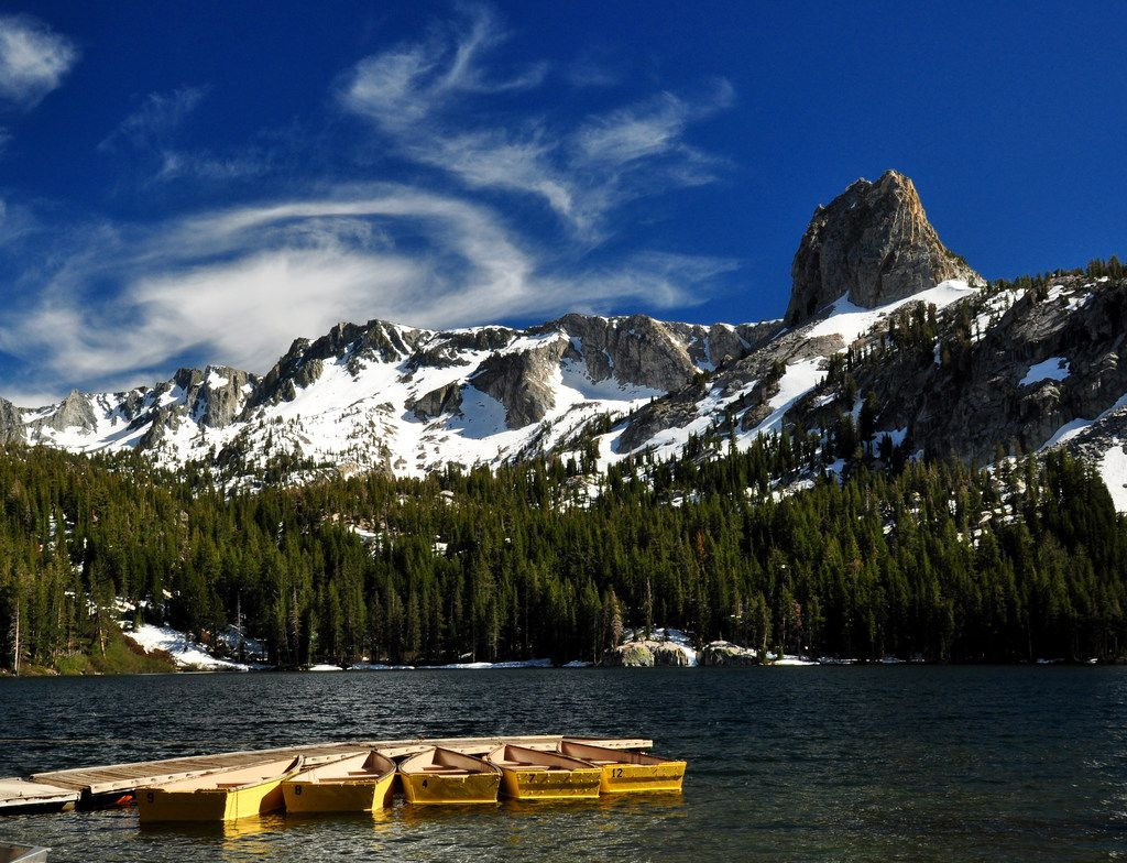 Crystal Crag rises above Lake George, one of many mountain views that delight visitors to Mammoth Lakes, Calif.