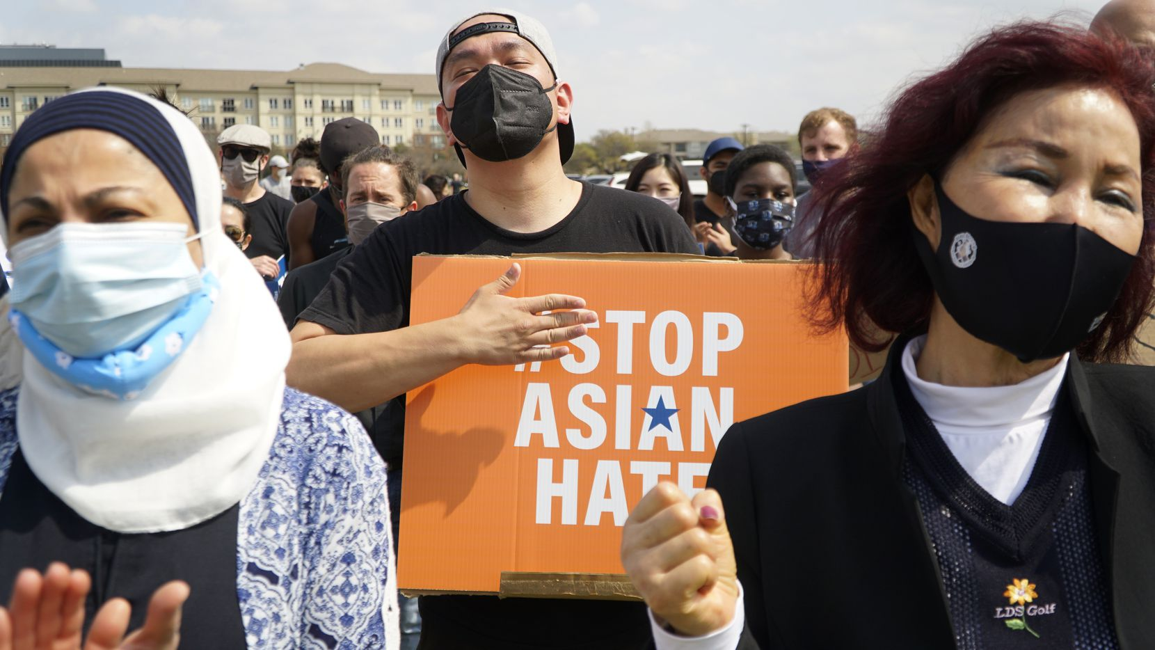 (l-r) Sabina Ibraheem, Mark Quach, and Kilja Park participated in the Stop Asian Hate rally in Dallas, Texas on Saturday, March 27, 2021. (Lawrence Jenkins/Special Contributor)