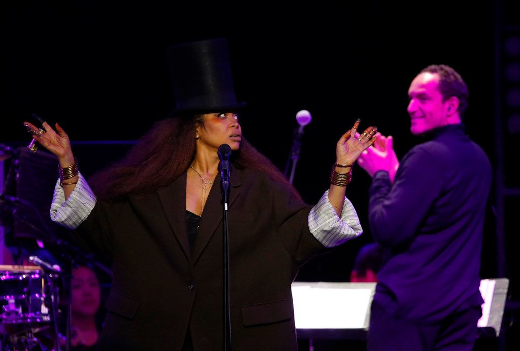 "Special guest Erykah Badu performs during the ""A Symphonic Night of Hip-Hop with the Dallas POPS"" concert featuring The Roots at the Pavilion at Toyota Music Factory in Irving, Texas, Tuesday, Oct. 17, 2017. (Jae S. Lee/The Dallas Morning News)"