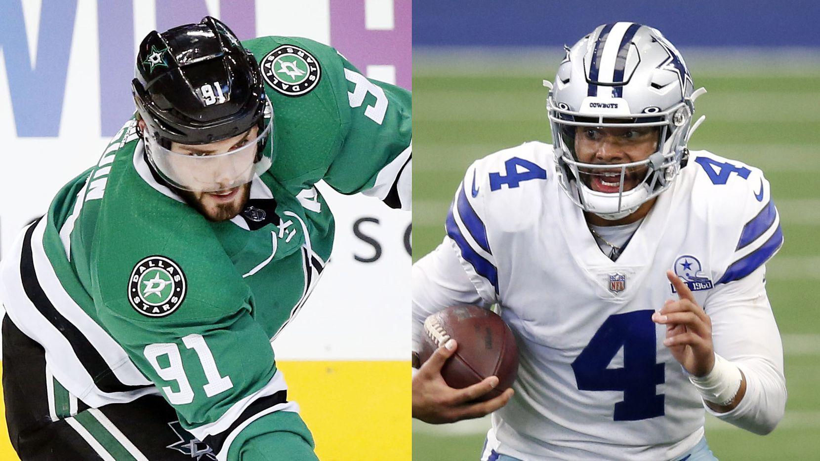 From L to R: Stars forward Tyler Seguin, Cowboys quarterback Dak Prescott