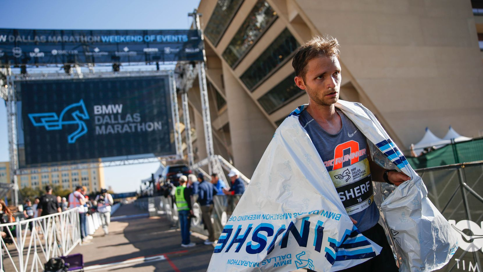 Aaron Sherf, winner of the BMW Dallas Marathon with a time of 2:31:18 on Dec. 15, 2019 in Dallas.