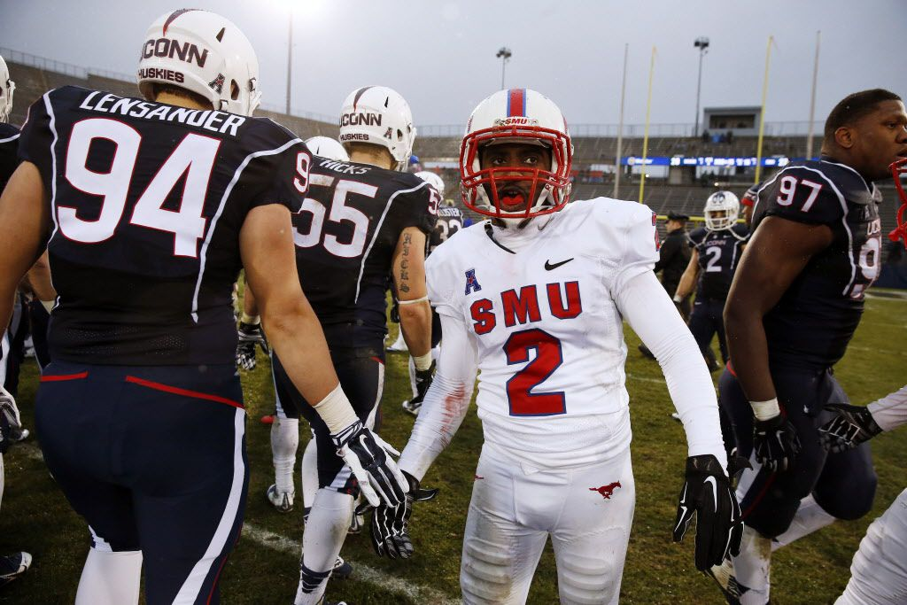 Southern Methodist wide receiver Deion Sanders Jr. (2) after Southern Methodist defeated Connecticut 27-20 in an NCAA college football game in East Hartford, Conn., Saturday, Dec. 6, 2014. (AP Photo/Michael Dwyer)